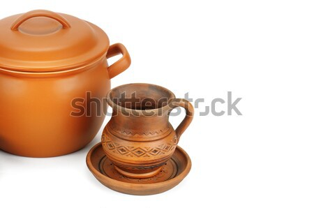 set of earthenware crockery Stock photo © alinamd
