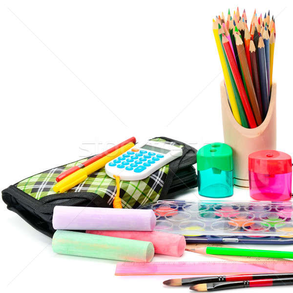Collection of school supplies, isolated on white background. Stock photo © alinamd