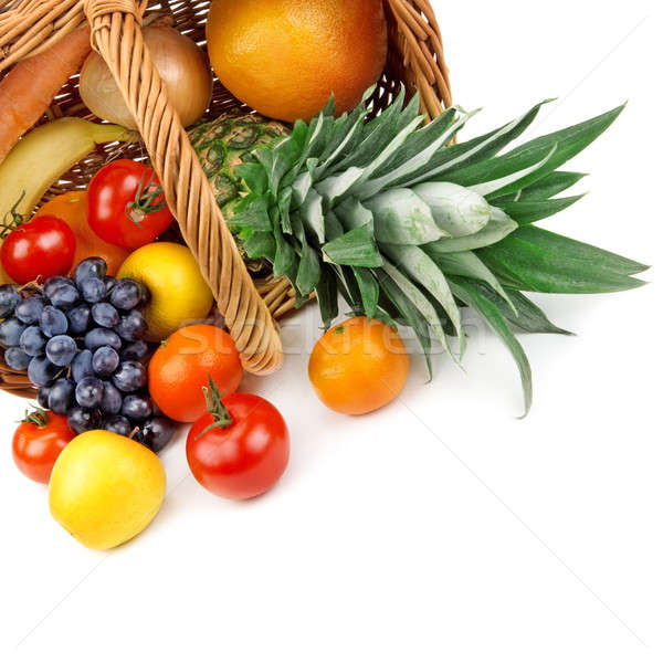 fruits and vegetables in a basket on white background Stock photo © alinamd