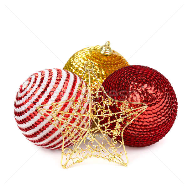 Stockfoto: Christmas · decoratie · geïsoleerd · witte · glas · star
