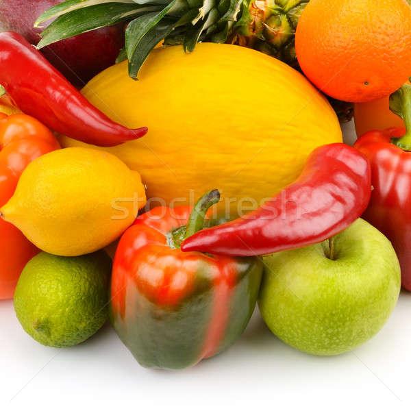 Gyümölcsök zöldségek izolált fehér alma szín Stock fotó © alinamd
