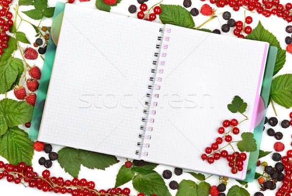 Foto stock: Livro · groselha · framboesas · comida
