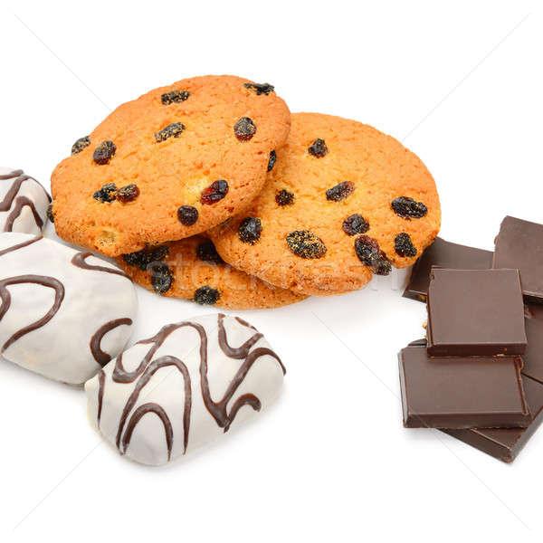 Stok fotoğraf: Bisküvi · çikolata · yalıtılmış · beyaz · kurabiye · kek