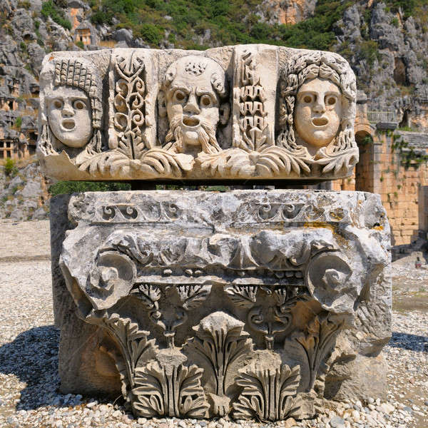 masks and Lycian tombs in the Myra, Turkey Stock photo © alinamd