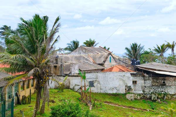 Elhagyatott házak szökőár Sri Lanka város otthon Stock fotó © alinamd