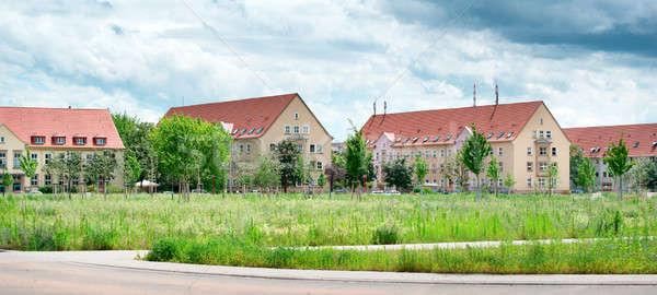 Residencial edificios país paisaje flores nubes Foto stock © alinamd