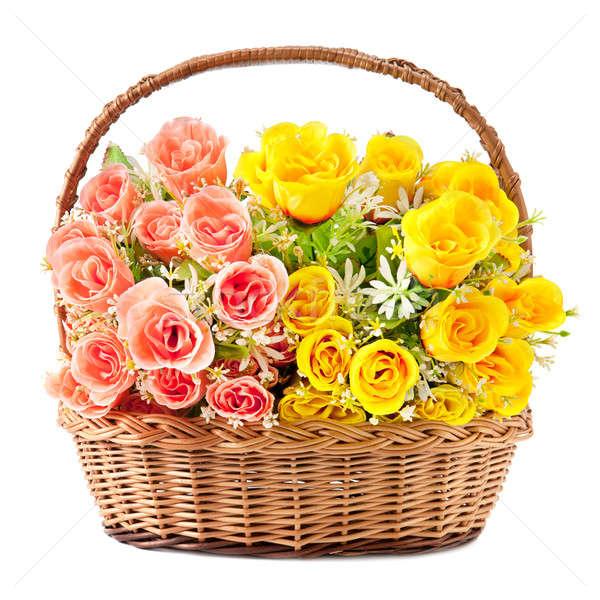 Flores cesta flores blancas blanco flor Foto stock © alinamd