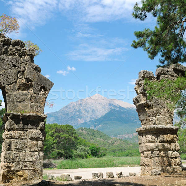 ruins of the ancient city of Phaselis and Olympus mountain Stock photo © alinamd