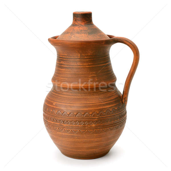 clay jug with a lid isolated on a white background Stock photo © alinamd