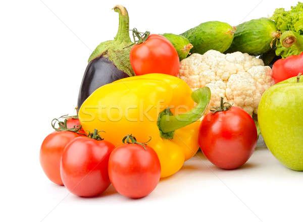Сток-фото: плодов · овощей · изолированный · белый · лист · фрукты