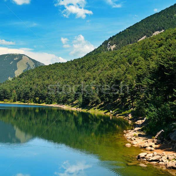Göl dağlar mavi gökyüzü resmedilmeye değer gökyüzü ağaç Stok fotoğraf © alinamd