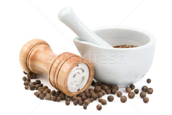 Konyhai felszerelés fűszer izolált fehér étel háttér Stock fotó © alinamd