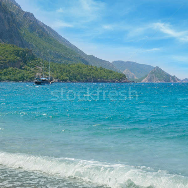 Zeegezicht zeilschip kust strand water natuur Stockfoto © alinamd