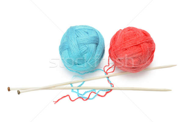 skeins of yarn and knitting needles isolated on a white backgrou Stock photo © alinamd
