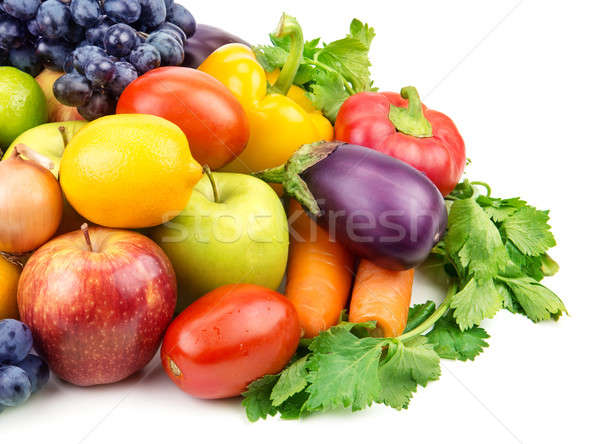 Stock photo: set of different fruits and vegetables isolated on white background