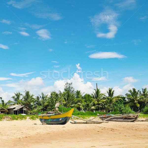 Vissen boten tropisch strand hemel water wolken Stockfoto © alinamd