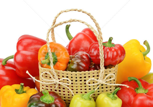 Set bell peppers in a basket isolated on a white background Stock photo © alinamd
