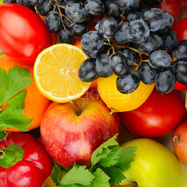 beautiful background of a set of vegetables and fruits Stock photo © alinamd