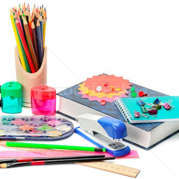 Coleção material escolar isolado branco escolas Foto stock © alinamd