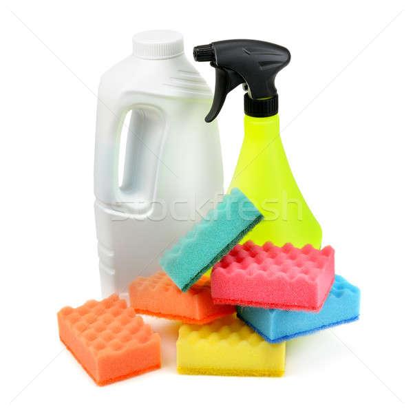 Detergente esponja isolado branco casa casa Foto stock © alinamd