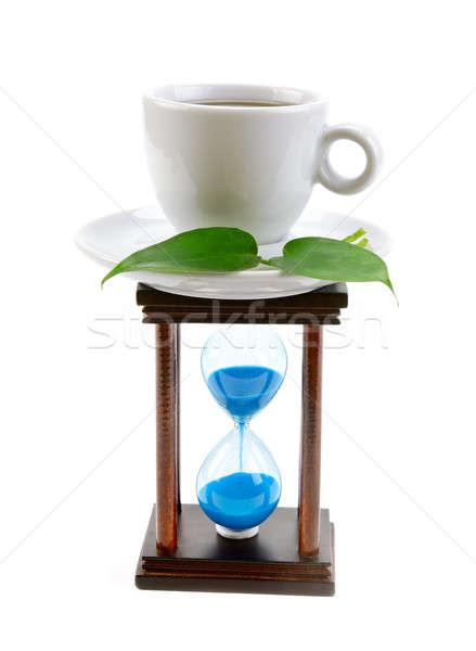 Taza café reloj de arena aislado blanco reloj Foto stock © alinamd