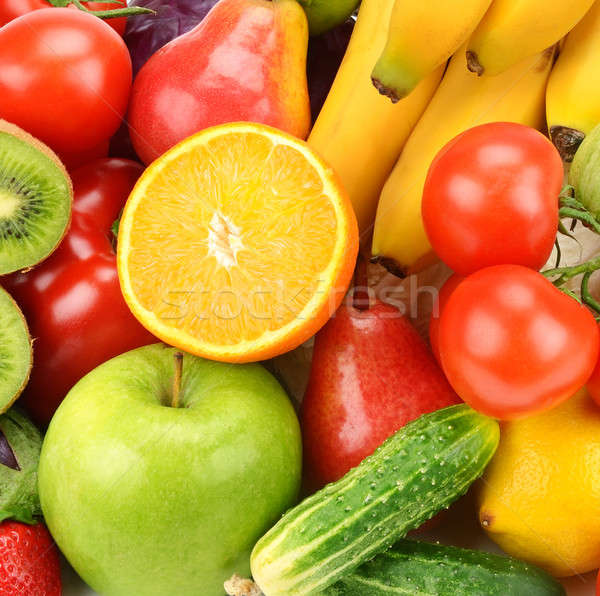 Stock photo: bright background of fruits and vegetables