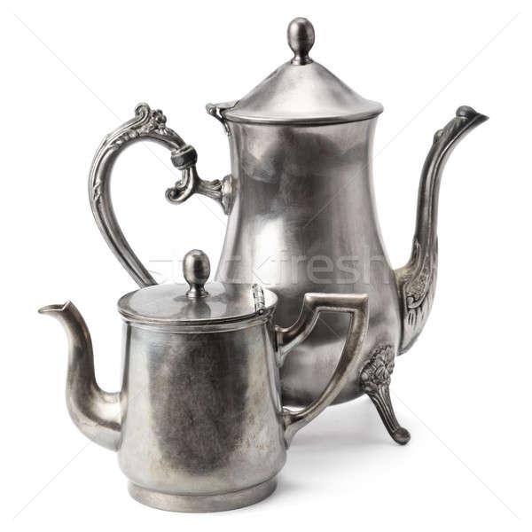 Oude koffie pot geïsoleerd witte achtergrond Stockfoto © alinamd
