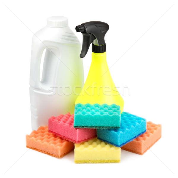 Stock fotó: Spray · üveg · szett · izolált · fehér · háttér