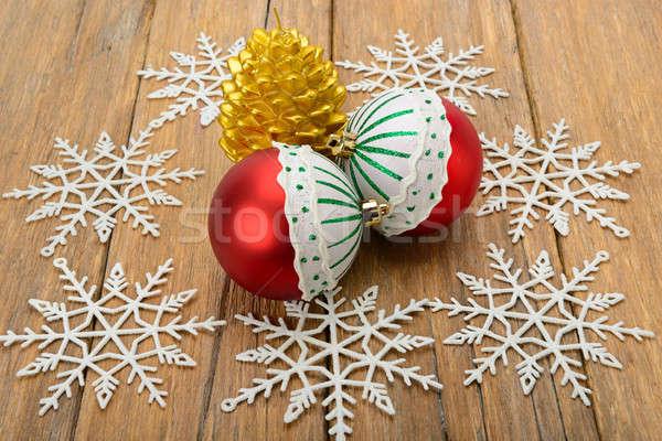 Karácsony díszítések gyertya űrlap hópehely hópelyhek Stock fotó © alinamd