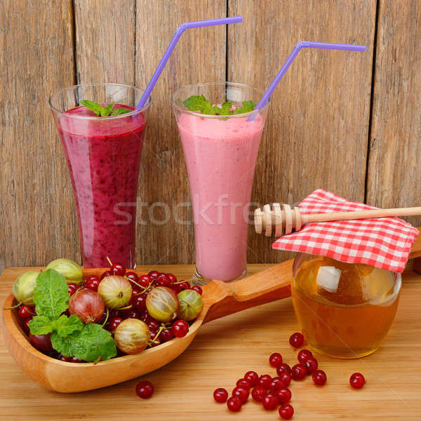 berry smoothie, currants, gooseberries and honey Stock photo © alinamd