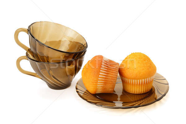 Cupcakes and cups isolated on white background Stock photo © alinamd