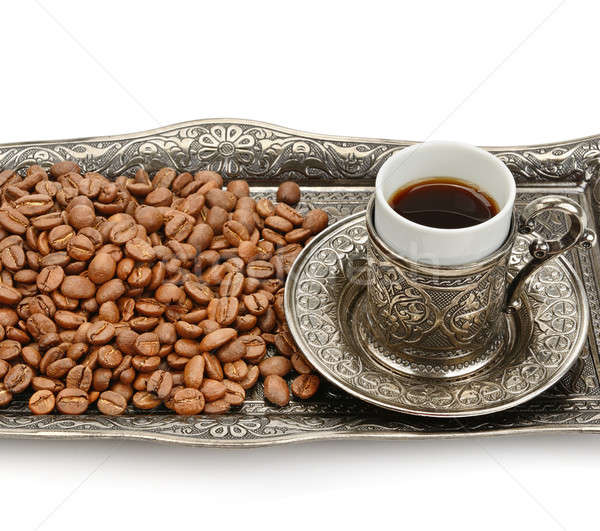 Turkish cup and coffee grain isolated on white background Stock photo © alinamd