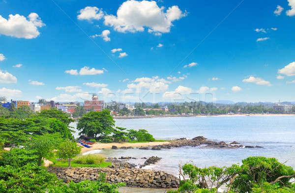 Kikötő város óceán Sri Lanka tengerpart égbolt Stock fotó © alinamd