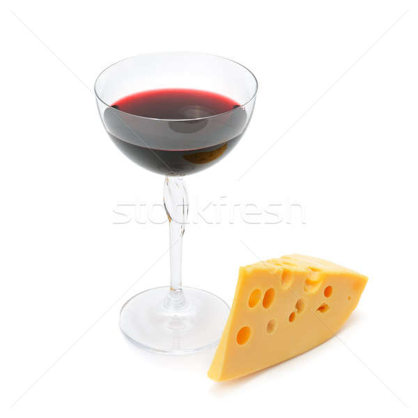 Vetro vino fetta formaggio isolato bianco Foto d'archivio © alinamd