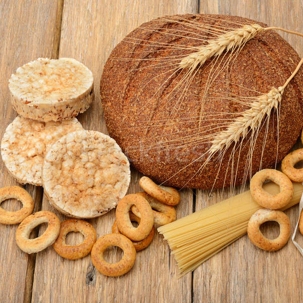 bread, pasta and pastries on wooden surface Stock photo © alinamd