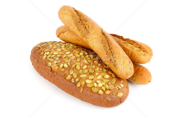 French baguette bread with pumpkin seeds. Isolated on white back Stock photo © alinamd