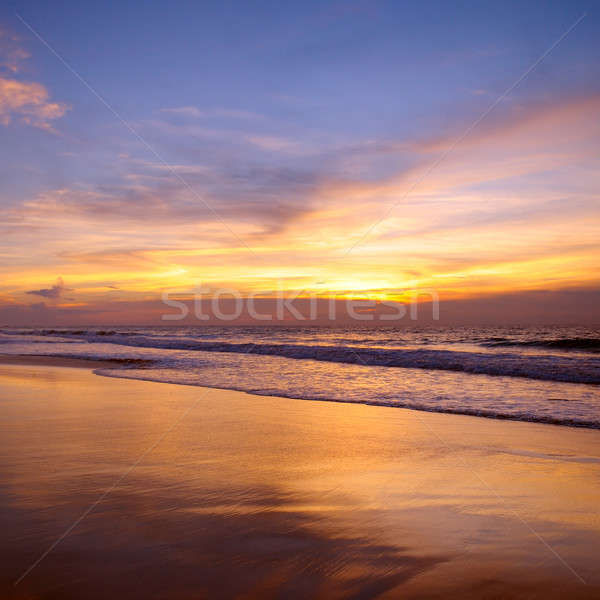 Fantastique coucher du soleil océan nuages printemps soleil Photo stock © alinamd