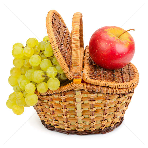 grapes and apple in the basket isolated on a white background Stock photo © alinamd