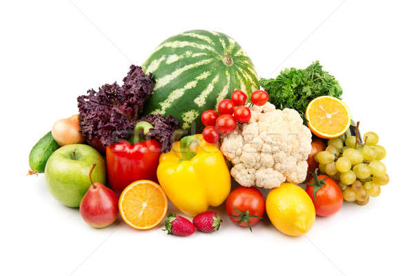 watermelon and a variety of vegetables and fruits Stock photo © alinamd