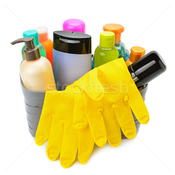 household chemicals and protective gloves isolated on white back Stock photo © alinamd