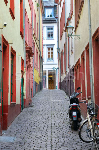 urban landscape with narrow streets, houses and cobbled pavement Stock photo © alinamd