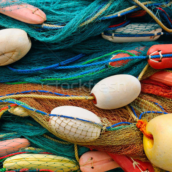 background of colorful fishing nets and floats Stock photo © alinamd