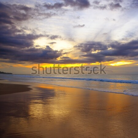 Fantastik gün batımı okyanus güneş ayarlamak su Stok fotoğraf © alinamd