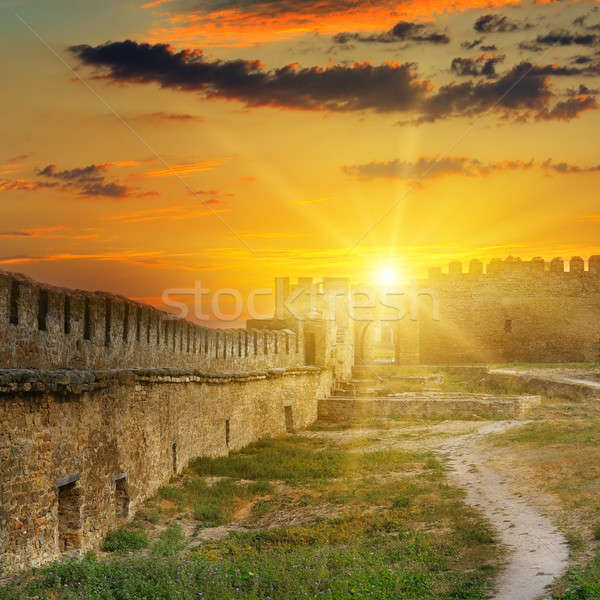Sunrise over the fortress wall of a medieval fortress. Akkerman  Stock photo © alinamd