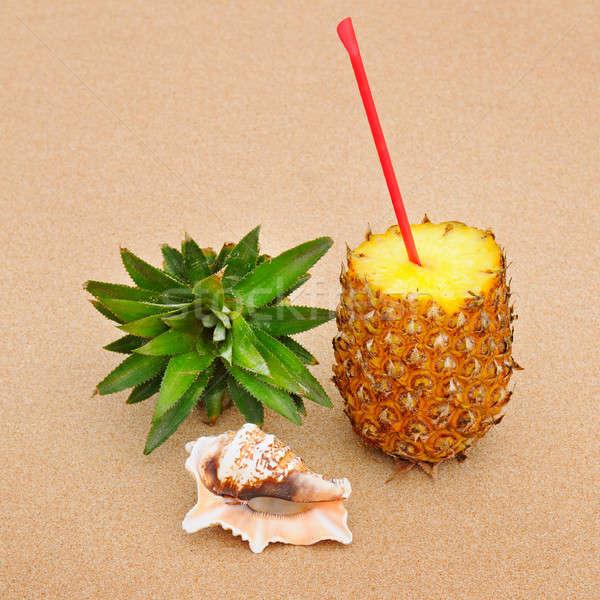 сочный ананаса морем снарядов песок природы Сток-фото © alinamd