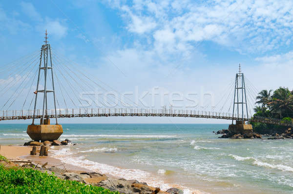 Bridge to island with Buddhist temple, Matara, Sri Lanka Stock photo © alinamd