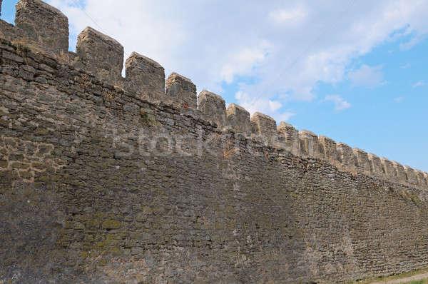 Fal ősi erőd kék ég égbolt épület Stock fotó © alinamd