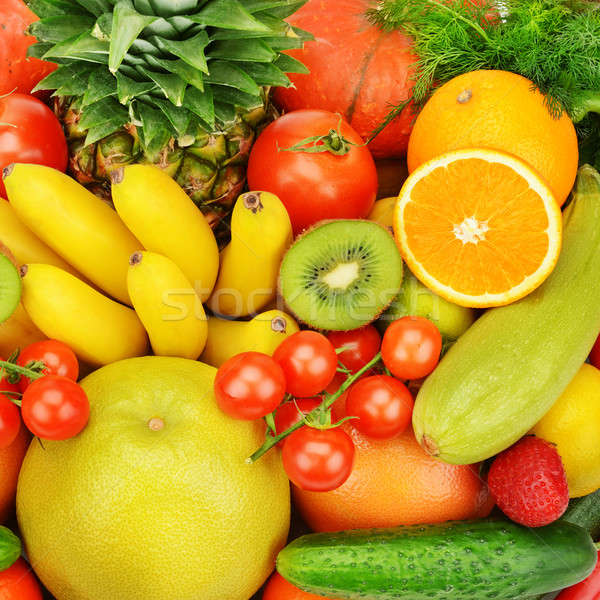 Stock photo: background of different fruits and vegetables