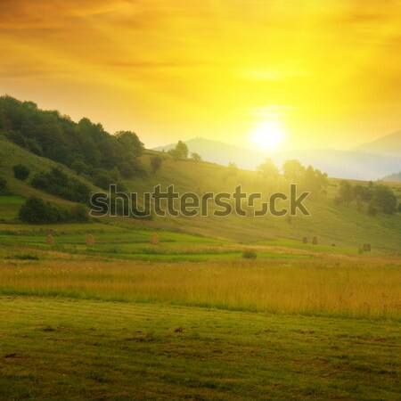ストックフォト: 美しい · 山 · 風景 · 日の出 · 春 · 木材
