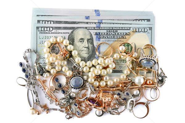 Stok fotoğraf: Altın · süsler · dolar · yalıtılmış · beyaz · takı